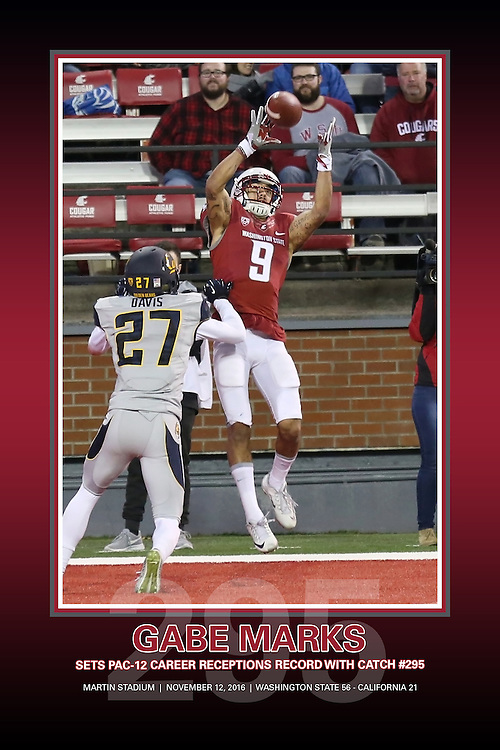 Memorabilia print of Gabe Marks setting the Pac-12 Conference career receptions record with the 295th reception of his career during the Cougars game with the Cal Bears on November 12, 2016, at Martin Stadium in Pullman, Washington.  Marks scored a touchdown on his record setting catch and Washington State defeated Cal, 56-21.
