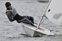 Alex Mills Barton, full time member of the Skandia team GBR Olympic sailing team in the Laser dinghy class.<br /> <br /> Alex sailing at Piddinghoe Pond, part of the Newhaven &amp; Seaford Sailing Club, East Sussex in the Freeman Iceberg Winter Series 6.<br /> <br /> Alex was victorious in both races.