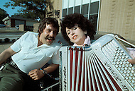 Nashville, Tennessee - June 10, 1977. This photograph was taken of Yvette Horner and Max Meynier (1938 - 2006), the famous radio anchor for European truck drivers and who later became a national hero, outside the recording studio in Nashville, Tennessee. Yvette Horner (born September 22nd, 1922) is a renown French accordionist, whose career has spanned over 70 years, has given thousands of concerts around the world and sold over 30 million records.