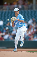 North Carolina Tar Heels starting pitcher Taylor Sugg (25) in action against the South Carolina Gamecocks at BB&T BallPark on April 3, 2018 in Charlotte, North Carolina. The Tar Heels defeated the Gamecocks 11-3. (Brian Westerholt/Four Seam Images)