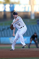 Brandon Gold (32) of the Lancaster JetHawks pitches against the Modesto Nuts at The Hanger on September 13, 2017 in Lancaster, California. Modesto defeated Lancaster, 8-5. (Larry Goren/Four Seam Images)