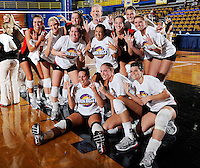 22 November 2008:  Sun Belt Conference champions, the Western Kentucky University Lady Toppers, pose for photographs after the WKU 3-0 victory over New Orleans in the championship game of the Sun Belt Conference tournament at U.S. Century Bank Arena in Miami, Florida.