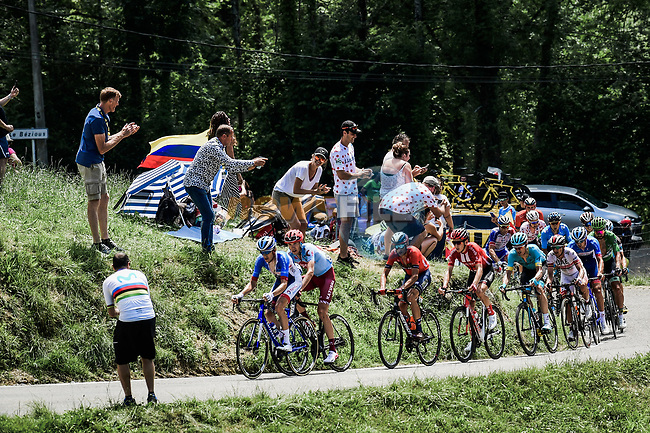 The early breakaway including Green Jersey Peter Sagan (SVK) Bora-Hansgrohe, Vincenzo Nibali (ITA) Bahrain-Merida and Ilnur Zakarin (RUS) Katusha-Alpecin descend the Col du Soulor during Stage 14 of the 2019 Tour de France running 117.5km from Tarbes to Tourmalet Bareges, France. 20th July 2019.<br /> Picture: ASO/Pauline Ballet | Cyclefile<br /> All photos usage must carry mandatory copyright credit (© Cyclefile | ASO/Pauline Ballet)