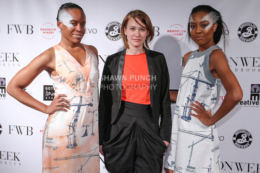 Norwegian fashion designer Lisbeth Lovbak Berg (center) poses with models after her L-L-B Spring Summer 2015 Construction collection fashion show, during Fashion Week Brooklyn Spring Summer 2015.