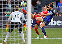 Portland, OR - Saturday July 09, 2016: Nadia Nadim, Yael Averbuch during a regular season National Women's Soccer League (NWSL) match between the Portland Thorns FC and FC Kansas City at Providence Park.