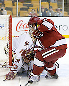 Cam Atkinson (BC - 13), Daniel Moriarty (Harvard - 11) - The Boston College Eagles defeated the Harvard University Crimson 6-0 on Monday, February 1, 2010, in the first round of the 2010 Beanpot at the TD Garden in Boston, Massachusetts.