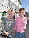 Isobel Dwyer and Lena Toth who took part in the Mell National School 500Km walk around the school. Photo:Colin Bell/pressphotos.ie