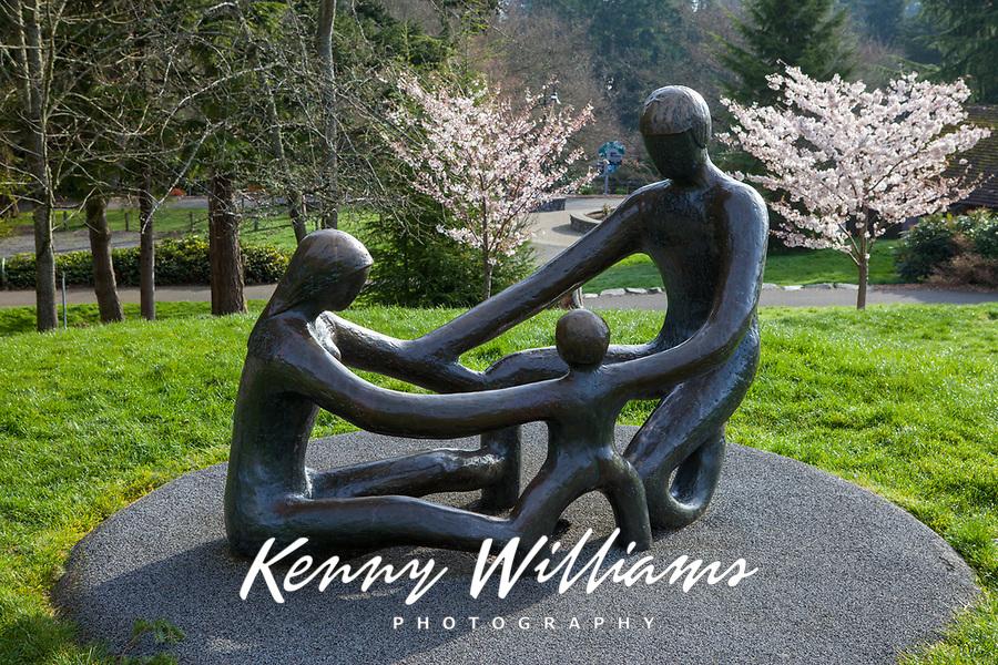 """The Family"" Bronze Sculpture, Point Defiance Zoo and Aquarium, Tacoma, Washington State, WA, USA."