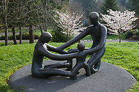 """The Family"" Bronze Sculpture, Point Defiance Zoo and Aquarium, Tacoma, Washington State, WA, USA."