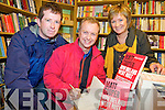 "Matt Cooper pictured with Eugene and Kathleen O'Sullivan, Firies, as he signed a copy of his book ""How Ireland Really went bust"" in the Killarney Bookshop on Saturday."