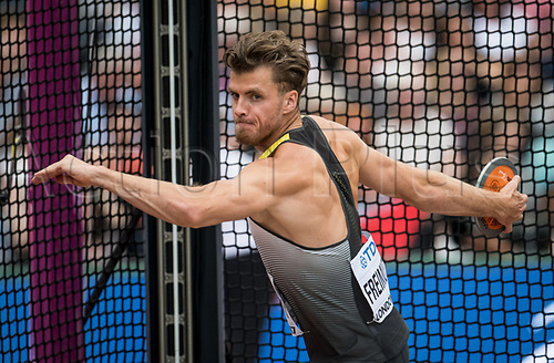 August 12th 2017, London Stadium, East London, England; IAAF World Championships, Day 9;  German athlete Rico Freimuth competes in the decathlon discus event at the IAAF World Championships in London, UK, 12August 2017.