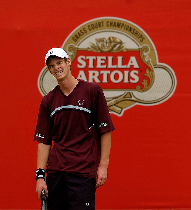 Photo. Jed Wee..Stella Artois Championships..09/06/2005..Britain's Andrew Murray takes on Thomas Johansson.