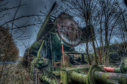Old steam train grave yard.