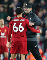 27th October 2019; Anfield, Liverpool, Merseyside, England; English Premier League Football, Liverpool versus Tottenham Hotspur;  Liverpool manager Jurgen Klopp hugs Trent Alexander-Arnold of Liverpool after the final whistle - Strictly Editorial Use Only. No use with unauthorized audio, video, data, fixture lists, club/league logos or 'live' services. Online in-match use limited to 120 images, no video emulation. No use in betting, games or single club/league/player publications