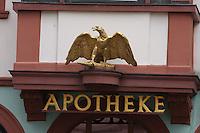 General view of the Adler Apotheke, Speisemarkt, Bingen, Nord Rhein-Westphalia, Germany.<br /> <br /> Gesamtansicht der Adler Apotheke, Speisemarkt, Bingen, Nord Rhein-Westfalen, Deutschland.