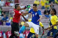 Action photo during the match Brazil vs Ecuador, Corresponding Group -B- America Cup Centenary 2016, at Rose Bowl Stadium<br /> <br /> Foto de accion durante el partido Brasil vs Ecuador, Correspondiante al Grupo -B-  de la Copa America Centenario USA 2016 en el Estadio Rose Bowl, en la foto: (i-d) Esteban Dreer de Ecuador y Jonas de Brasil<br /> <br /> <br /> 04/06/2016/MEXSPORT/Victor Posadas.