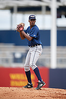 Lakeland Flying Tigers starting pitcher Anthony Castro (15) gets ready to deliver a pitch during a game against the Tampa Tarpons on April 8, 2018 at George M. Steinbrenner Field in Tampa, Florida.  Lakeland defeated Tampa 3-1.  (Mike Janes/Four Seam Images)
