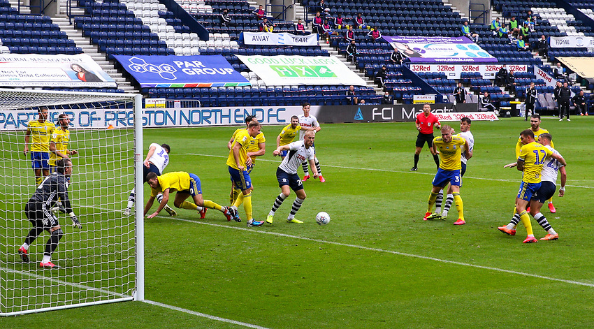 Preston North End's Patrick Bauer (right) scores the opening goal <br /> <br /> Photographer Alex Dodd/CameraSport<br /> <br /> The EFL Sky Bet Championship - Leeds United v Barnsley - Thursday 16th July 2020 - Elland Road - Leeds<br /> <br /> World Copyright © 2020 CameraSport. All rights reserved. 43 Linden Ave. Countesthorpe. Leicester. England. LE8 5PG - Tel: +44 (0) 116 277 4147 - admin@camerasport.com - www.camerasport.com<br /> <br /> Photographer Alex Dodd/CameraSport<br /> <br /> The EFL Sky Bet Championship - Preston North End v Birmingham City - Saturday 18th July 2020 - Deepdale Stadium - Preston<br /> <br /> World Copyright © 2020 CameraSport. All rights reserved. 43 Linden Ave. Countesthorpe. Leicester. England. LE8 5PG - Tel: +44 (0) 116 277 4147 - admin@camerasport.com - www.camerasport.com