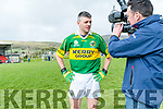 Aodan Mac Gearailt (An Ghealtacht) being interviewed on the pitch at the Legends of Kerry and Galway match at Pairc an Aghasaigh, Dingle, during the Cairde Friends Matter Dingle launch weekend.