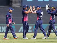England celebrate a wicket.  Black Caps v England, second international cricket ODI, Bay Oval, Tauranga, New Zealand. Wednesday, 28 February, 2018. Copyright photo: John Cowpland / www.photosport.nz