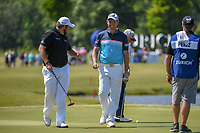 Padraig Harrington (IRL) and Shane Lowry (IRL) are all smiles after Harrington's birdie putt on 17 during Round 1 of the Zurich Classic of New Orl, TPC Louisiana, Avondale, Louisiana, USA. 4/26/2018.<br /> Picture: Golffile | Ken Murray<br /> <br /> <br /> All photo usage must carry mandatory copyright credit (&copy; Golffile | Ken Murray)