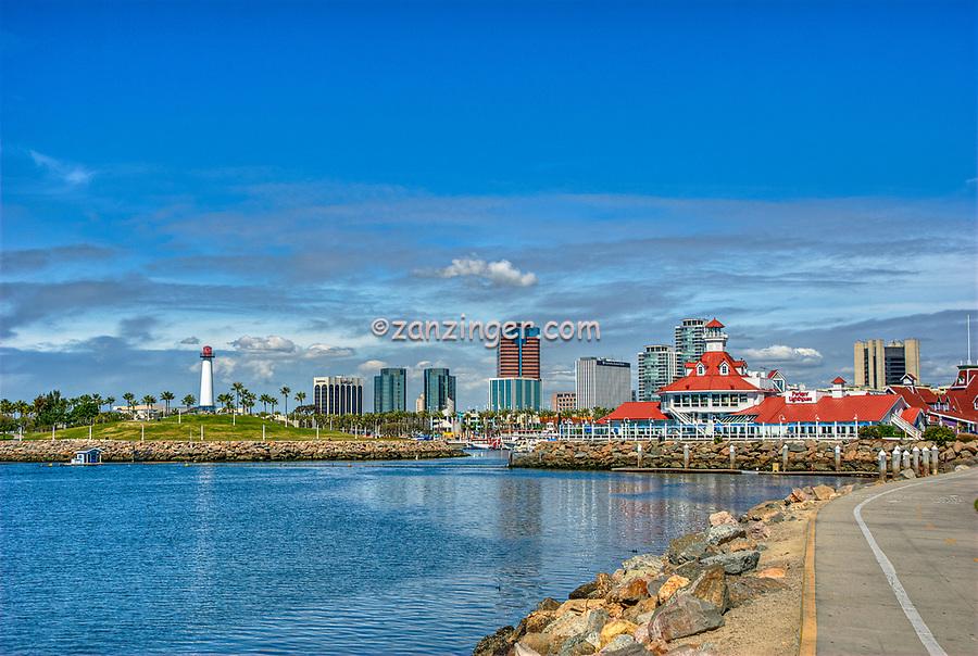 Long Beach; CA; Skyline; Rainbow Harbor, breakwater, southern coast,