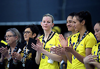 Katrina Grant and her Pulse teammates appluad the Steel after the ANZ Premiership netball grand final between the Central Pulse and Southern Steel at Arena Manawatu in Palmerston North, New Zealand on Sunday, 12 August 2018. Photo: Dave Lintott / lintottphoto.co.nz