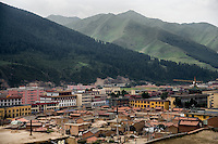 A view of the city of Xiahe, Gansu, China. Xiahe, home of the Labrang Monastery, is an important site for Tibetan Buddhists.  The population of the town is divided between ethnic Tibetans, Muslims, and Han Chinese.