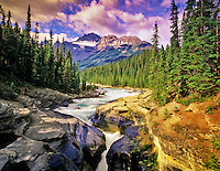 Mystaya River and Canyon and Mt. Sarbach. Banff National Park, Canada