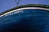 Name on side of wooden fishing boat. Tenerife, Canary Islands.