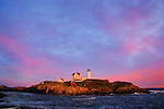 A Beautiful And Colorful Sunset At The Nubble Light, Cape Neddick, Maine, USA