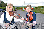 BIKE FANS: Tara Lyons (Caherciveen) and Aine Sheehan (Foilmore) striking up a tune  in Dromid on Thursday evening when the local community organised a festival to welcomed The Turas Ireland South West 2008 challenge to the region..   Copyright Kerry's Eye 2008