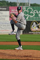 Beloit Snappers Boomer Biegalski (36) throws during the Midwest League game against the Clinton LumberKings at Ashford University Field on June 11, 2016 in Clinton, Iowa.  The LumberKings won 7-6.  (Dennis Hubbard/Four Seam Images)