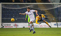 Max Muller of Wycombe Wanderers takes Matt Green of Mansfield Town off the ball during the The Checkatrade Trophy  Quarter Final match between Mansfield Town and Wycombe Wanderers at the One Call Stadium, Mansfield, England on 24 January 2017. Photo by Andy Rowland.