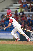 Williamsport Crosscutters outfielder Aaron Brown (33) at bat during a game against the Aberdeen IronBirds on August 4, 2014 at Bowman Field in Williamsport, Pennsylvania.  Aberdeen defeated Williamsport 6-3.  (Mike Janes/Four Seam Images)