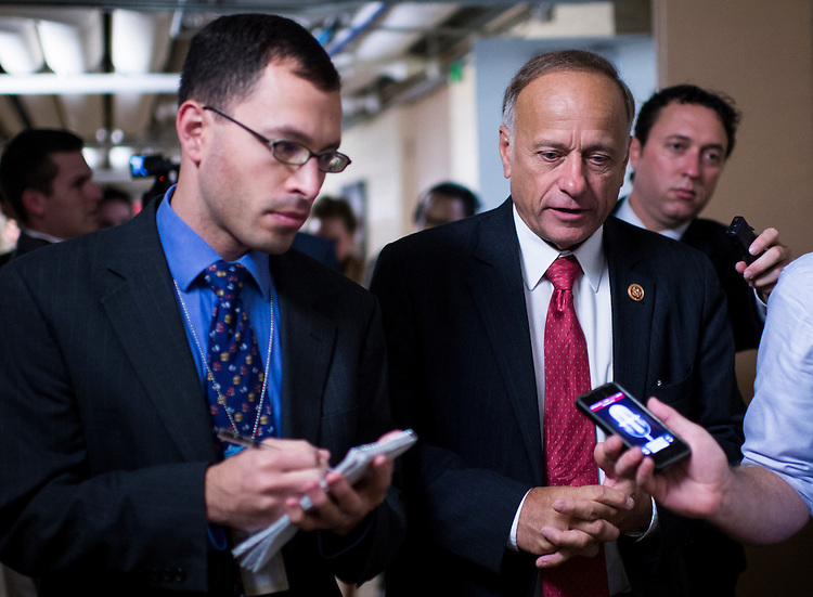 UNITED STATES - SEPTEMBER 26: Rep. Steve King, R-Iowa, speaks with reporters as he leaves the House Republican Conference meeting in the basement of the Capitol on Thursday, Sept. 26, 2013. (Photo By Bill Clark/CQ Roll Call)