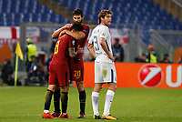 Roma s Diego Perotti, left, celebrates with his teammate Federico Fazio, center, after scoring, as Chelsea s Marcos Alonso reacts, during the Champions League Group C soccer match between Roma and Chelsea at Rome's Olympic stadium, October 31, 2017.<br /> UPDATE IMAGES PRESS/Riccardo De Luca