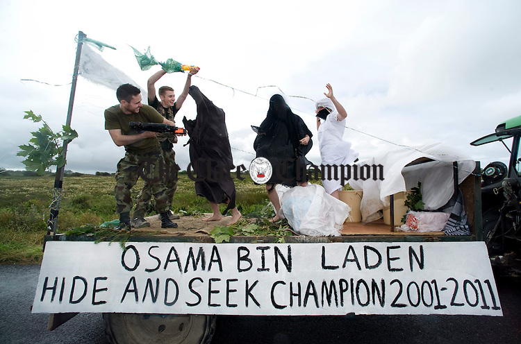 The action gets underway on the Osama Bin Laden float during the Cree parade. Photograph by Declan Monaghan