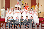 Communion: The First Holy Communion Class at St Mary's Church, Tarbert on Saturday, with their teacher Rosaline Geoghegan and Fr Danny Broderick Parish Priest...Back l-r: Ellen Egan, Sofie Flavin, Rachael Martin, Kayla Kiely Fitzgerald, Shona O'Connor, Anna Finucane, Gillian Musgrave and Kayley Mulvihill. Front l-r: Padraig Carrig, Darragh O'Connor, Jack Monagle, Niall Haugh, Aaron Mulvihill and Greg Horan.
