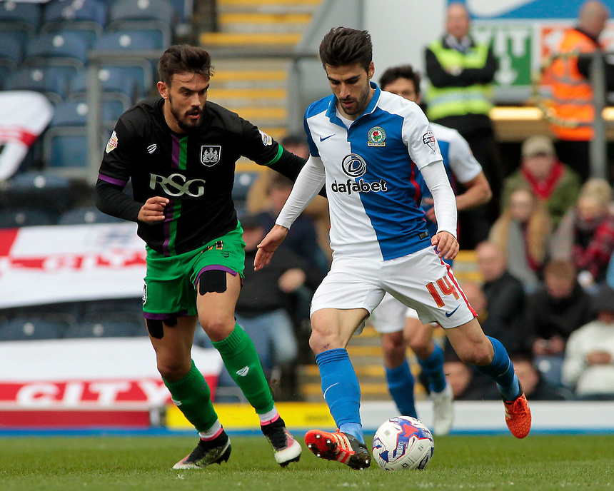 Blackburn Rovers&rsquo; Jordi Gomez tries to get past Bristol City's Marlon Pack<br /> <br /> Photographer David Shipman/CameraSport<br /> <br /> Football - The Football League Sky Bet Championship - Blackburn Rovers v Bristol City - Saturday 23rd April 2016 - Ewood Park - Blackburn <br /> <br /> &copy; CameraSport - 43 Linden Ave. Countesthorpe. Leicester. England. LE8 5PG - Tel: +44 (0) 116 277 4147 - admin@camerasport.com - www.camerasport.com