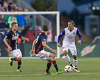 Foxborough, Massachusetts - April 30, 2016: First half action. In a Major League Soccer (MLS) match, the New England Revolution (blue/white) vs Orlando City SC (white), 1-1 (halftime), at Gillette Stadium.
