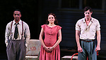 "Hampton Fluker, Francesca Carpanini and Benjamin Walker during the Broadway Opening Night Curtain Call for ""All My Sons"" at The American Airlines Theatre on April 22, 2019  in New York City."