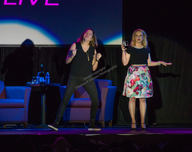 Kristin Hensley and Jen Smedley perfom during the IMomSoHard show on Saturday, March 3, 2018 at the Silver Legacy Resort Casino..