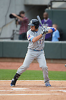 Victor Caratini (17) of the Myrtle Beach Pelicans at bat against the Winston-Salem Dash at BB&T Ballpark on April 18, 2015 in Winston-Salem, North Carolina.  The Pelicans defeated the Dash 4-1 in game one of a double-header.  (Brian Westerholt/Four Seam Images)
