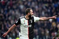 Gonzalo Higuain of Juventus celebrates after scoring a goal <br /> Torino 6-1-2020 Juventus Stadium <br /> Football Serie A 2019/2020 <br /> Juventus FC - Cagliari Calcio <br /> Photo Federico Tardito / Insidefoto