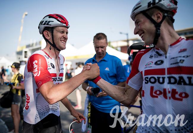 teammates Tiesj Benoot (BEL/Lotto-Soudal) & Jens Keukeleire (BEL/Lotto-Soudal) celebrating Caleb Ewan (AUS/Lotto-Soudal) stage win at the finish line in Nîmes<br /> <br /> Stage 16: Nîmes to Nîmes(177km)<br /> 106th Tour de France 2019 (2.UWT)<br /> <br /> ©kramon