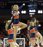 Virginia  cheerleaders perform during the second half of an NCAA basketball game Saturday Jan. 18, 2014 in Charlottesville, VA. Virginia defeated Florida State 78-66. (AP Photo/Andrew Shurtleff)