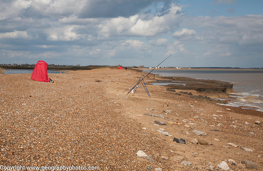 Fishing from the beach at Bawdsey, Hollesley Bay, Suffolk, England