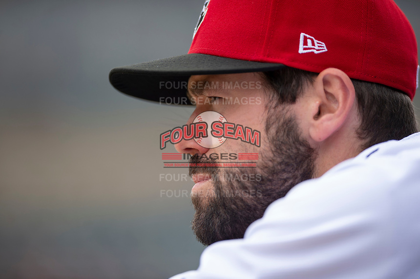 Indianapolis Indians assistant coach Jonathan Schwind (10) during an International League game against the Columbus Clippers on April 30, 2019 at Victory Field in Indianapolis, Indiana. Columbus defeated Indianapolis 7-6. (Zachary Lucy/Four Seam Images)
