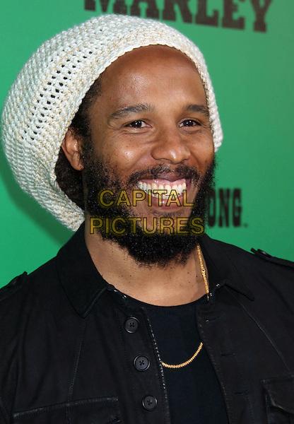 Ziggy Marley.'Marley' Los Angeles Premiere held at Arclight Cinemas, Hollywood, California, USA..April 17th, 2012.headshot portrait black white crochet hat beard facial hair .CAP/ADM/RE.©Russ Elliot/AdMedia/Capital Pictures.